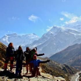 Projects Abroad volunteers climb the snowy Himalayan Mountains while volunteering in Nepal.